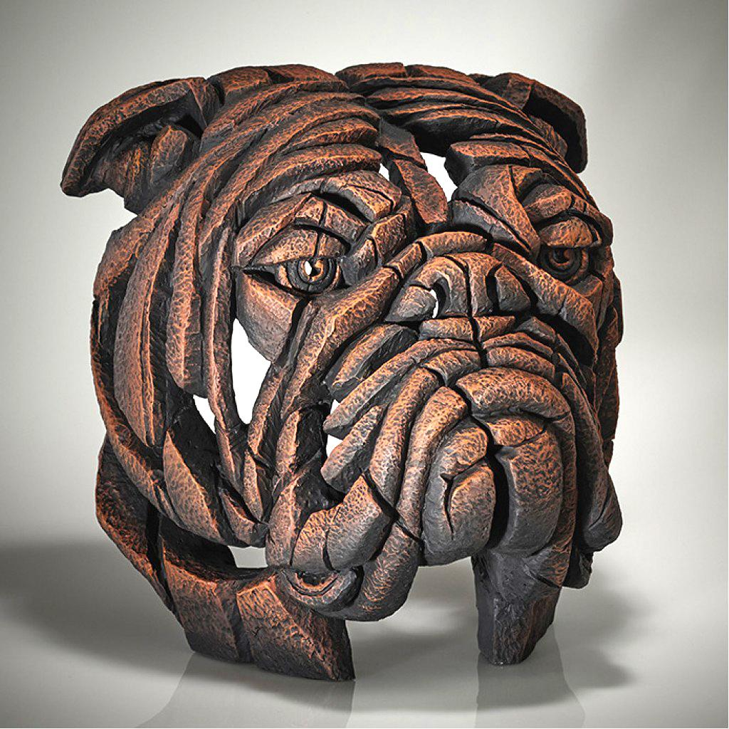 Bulldog Bust - Brown Sauce - EDGE Sculpture EDB13BN