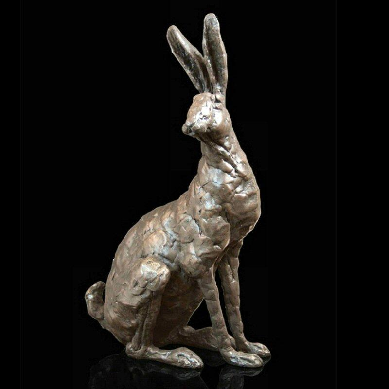 Hazel - Hare Sitting (214BR) - Bronze Sculpture by Grant Palmer