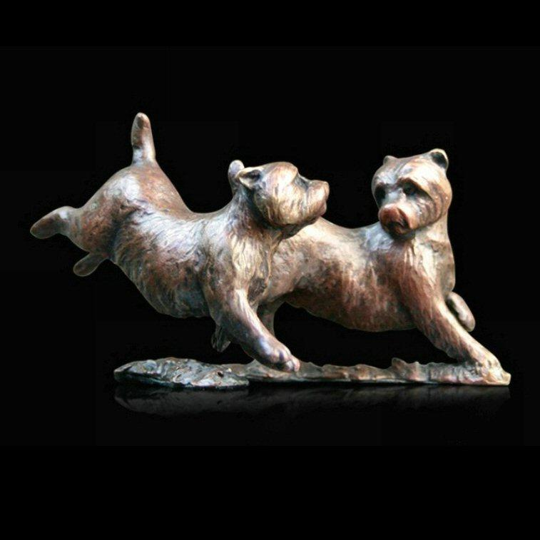 Westie Pair Playing (805) in bronze by Michael Simpson