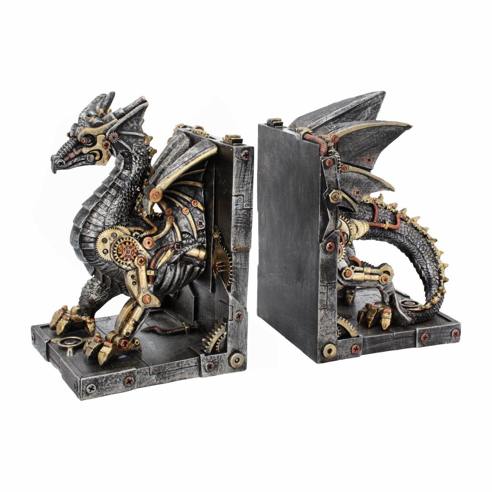 Dracus Machina Bookends - Steampunk Dragon - Nemesis Now U4189M8