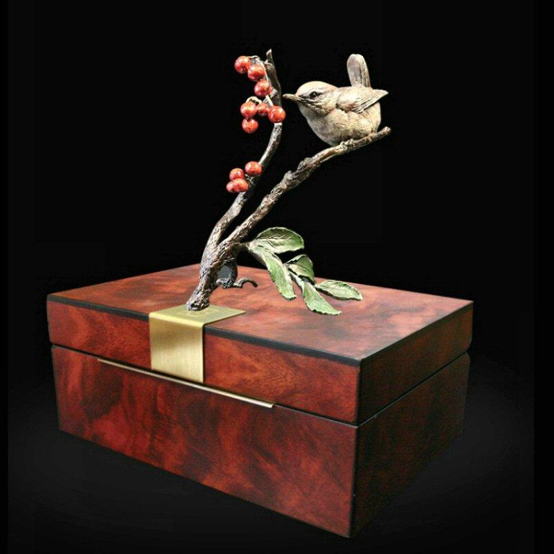 Wren with Rowan - Bronze Sculpture in Display Box - 1082