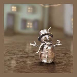 Snowman - Miniature Bronze Christmas Sculpture - Butler & Peach 2090