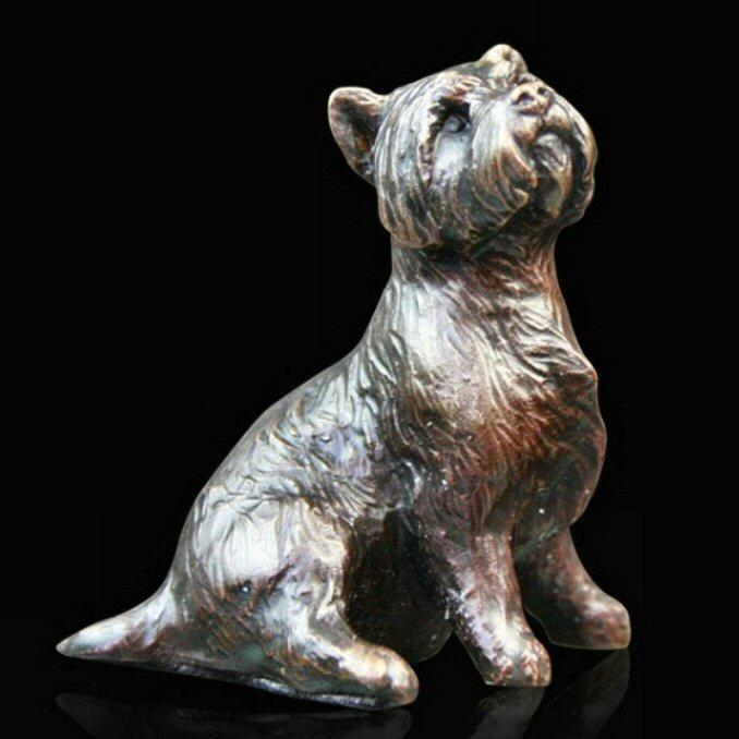 Westie Sitting (804) in bronze by Michael Simpson