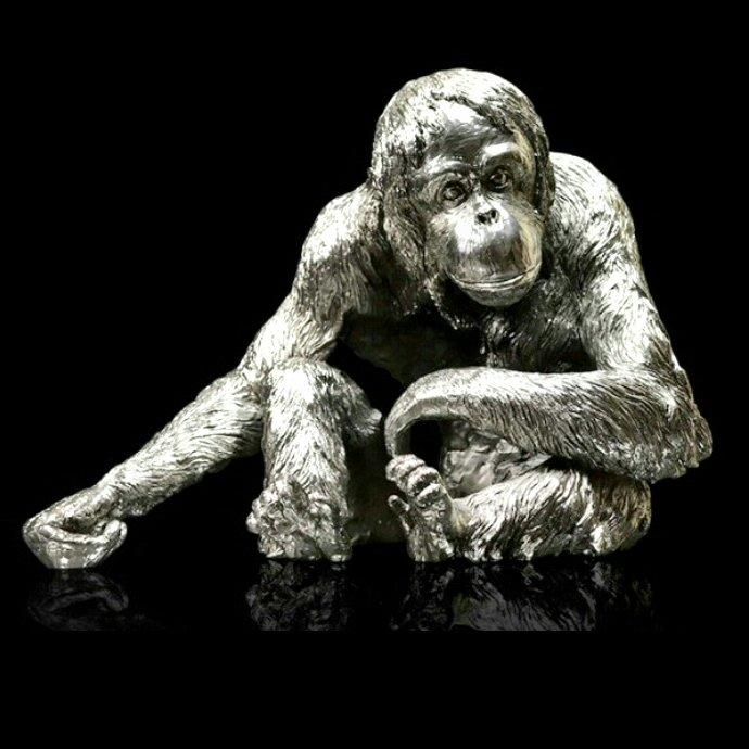 Orangutan - Nickel Plated Sculpture - Keith Sherwin 319NP