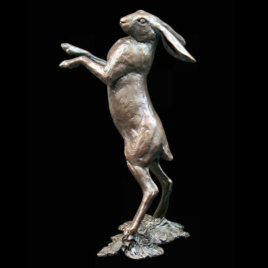 Medium Hare Standing (784) in bronze by Michael Simpson
