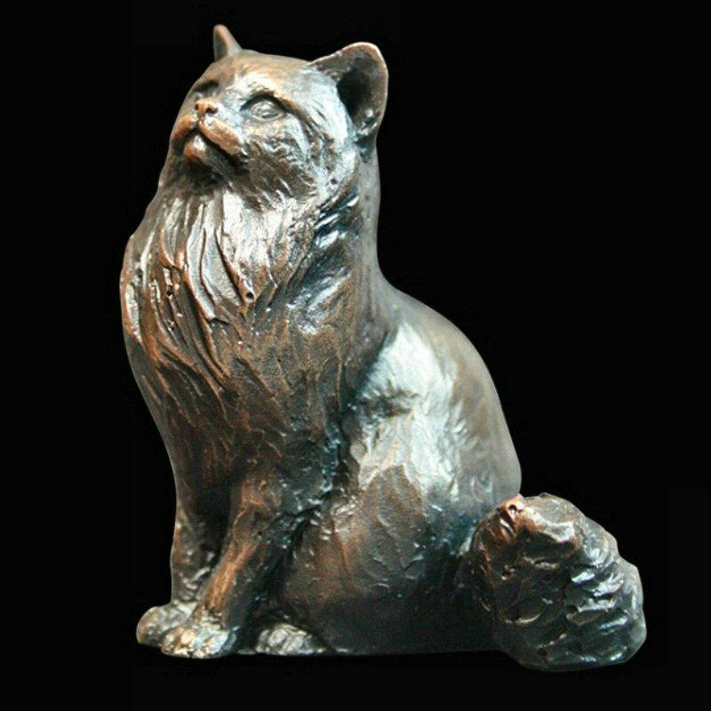 Small Cat Sitting - Long Haired (925) in bronze by Michael Simpson