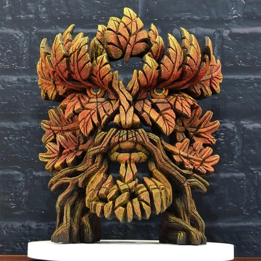 Green Man Bust - Autumn Flame - EDGE Sculpture EDB16A