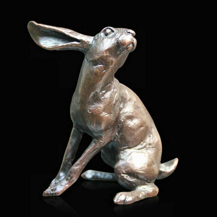 Small Hare Listening (832) in bronze by Michael Simpson
