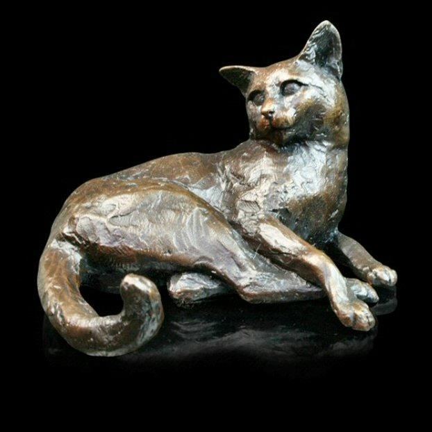 Cat Lying  (744) in bronze by Michael Simpson