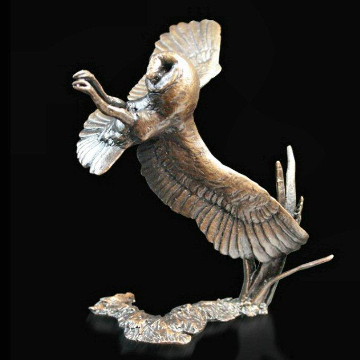 Barn Owl at Night (772) in bronze by Michael Simpson