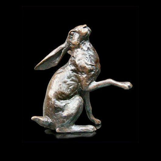 Small Hare Moon Gazing (715) in bronze by Michael Simpson