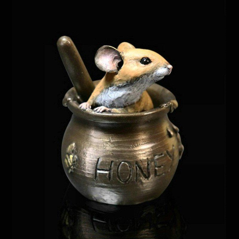Mouse in Honey Pot - Bronze Sculpture - Michael Simpson - 242BR