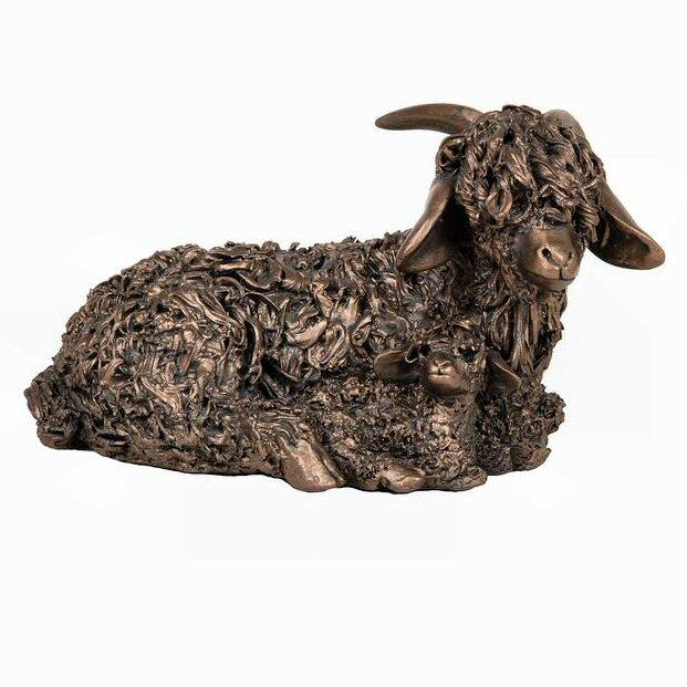 Angora Goat with Kid - Bronze Sculpture - Veronica Ballan VB078