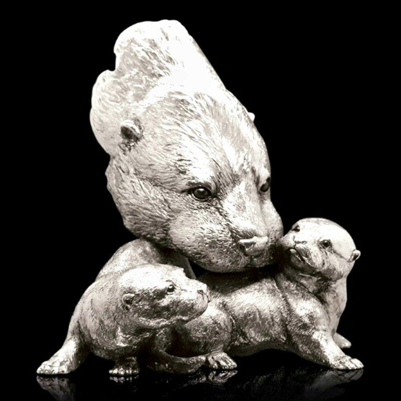 Otter with Pups - Nickel Plated Sculpture - Keith Sherwin 321NP
