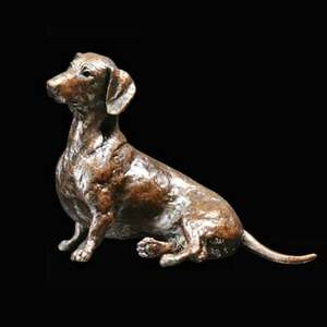 Dachshund Sitting - Bronze Dog Sculpture - Michael Simpson - 1084