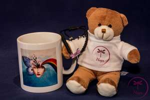 Empyreal mug, Hugs Bear and Macrame bracelet