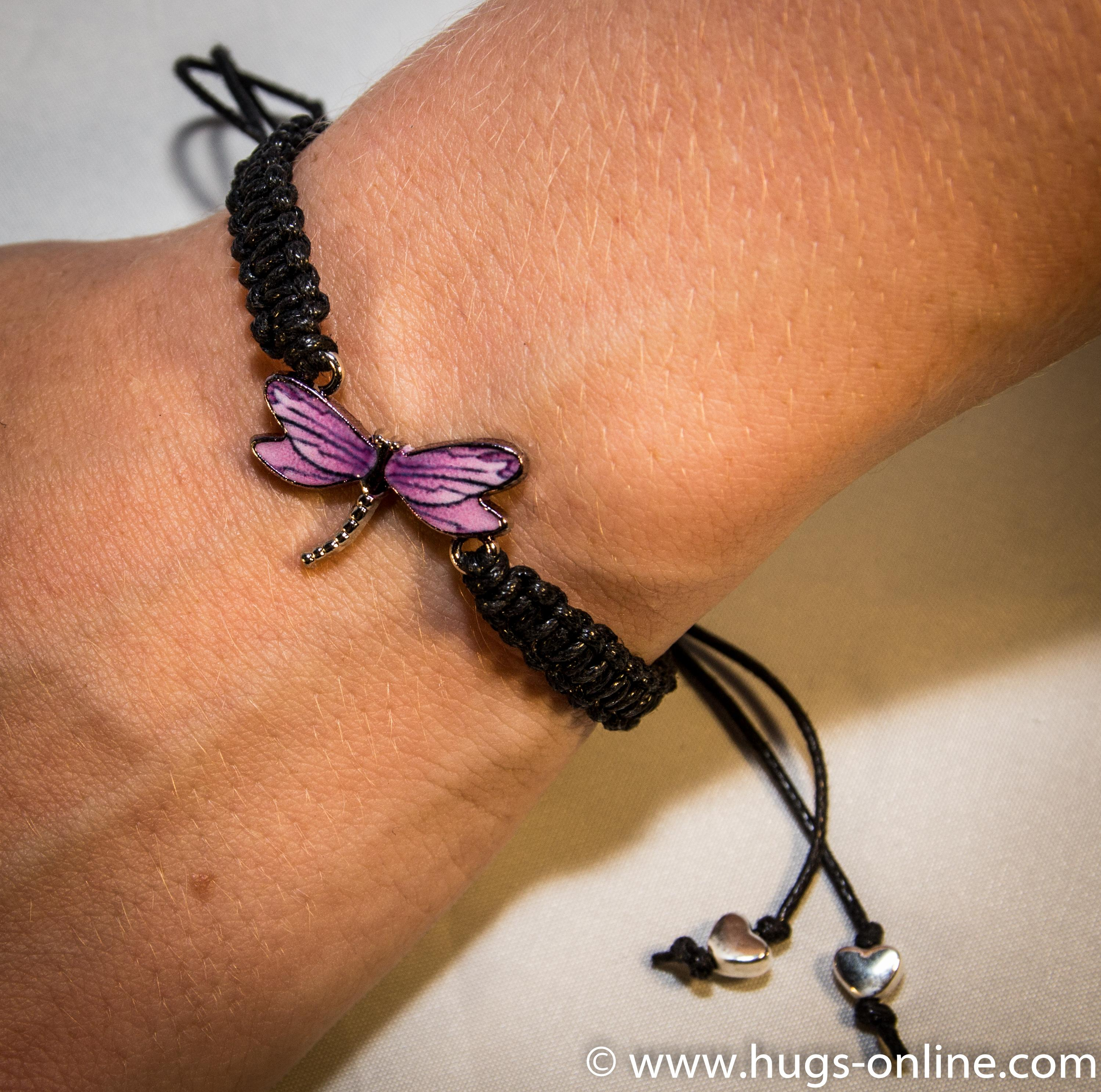 Black Macrame Bracelet with Purple Dragonfly