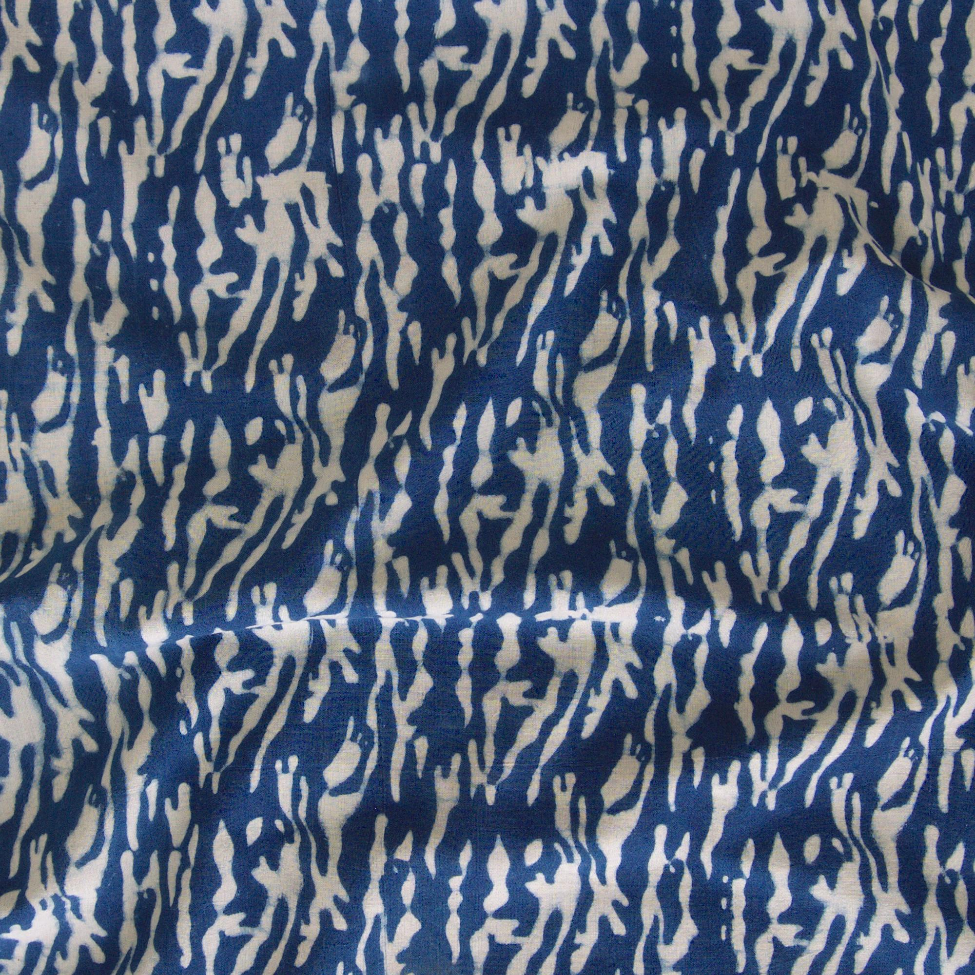 100% Block-Printed Cotton Fabric from India - Ajrak - Indigo White Tiger Print