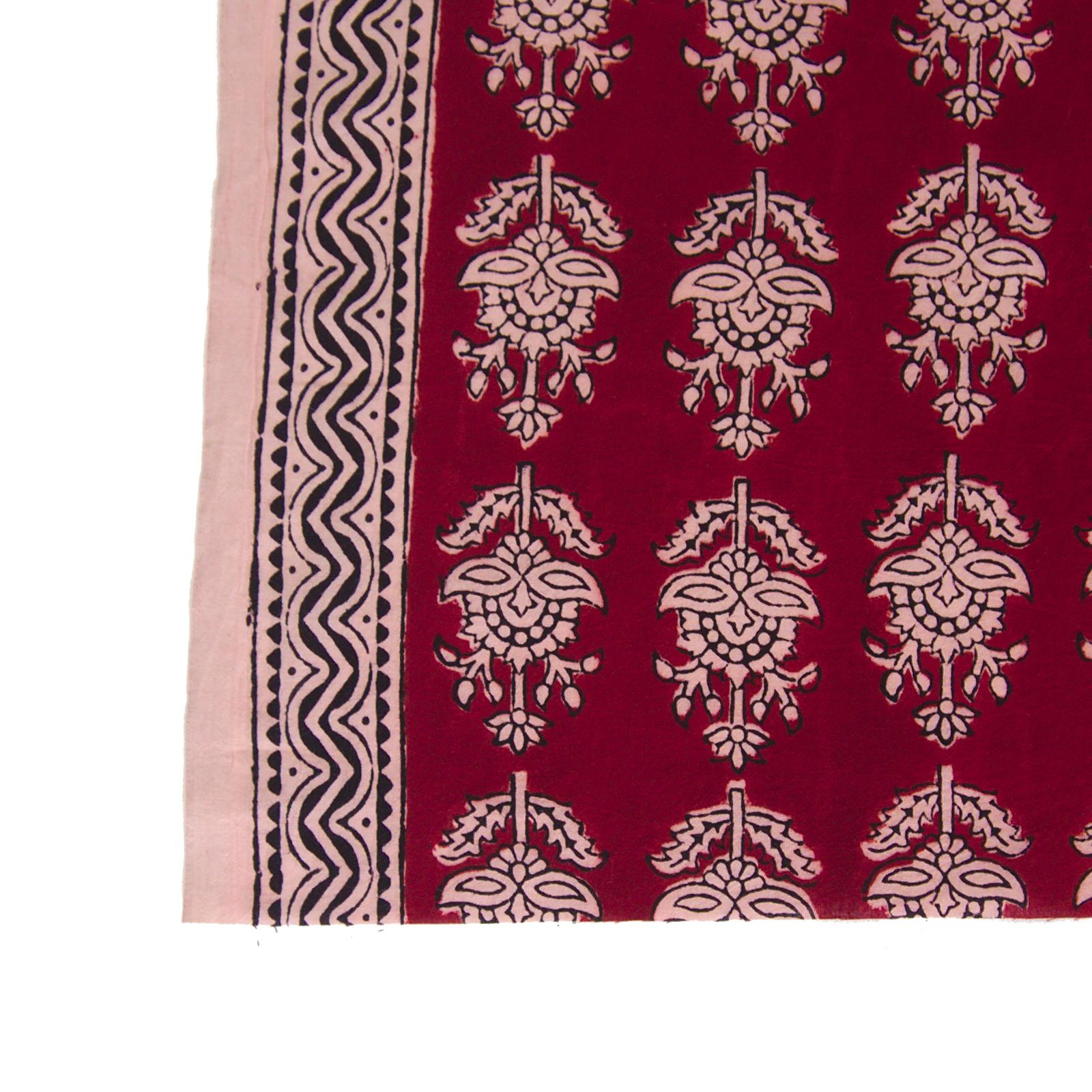 100% Block-Printed Cotton Fabric From India - Talkin' About Design - Iron Rust Black & Alizarin Red Dyes - Border - Live