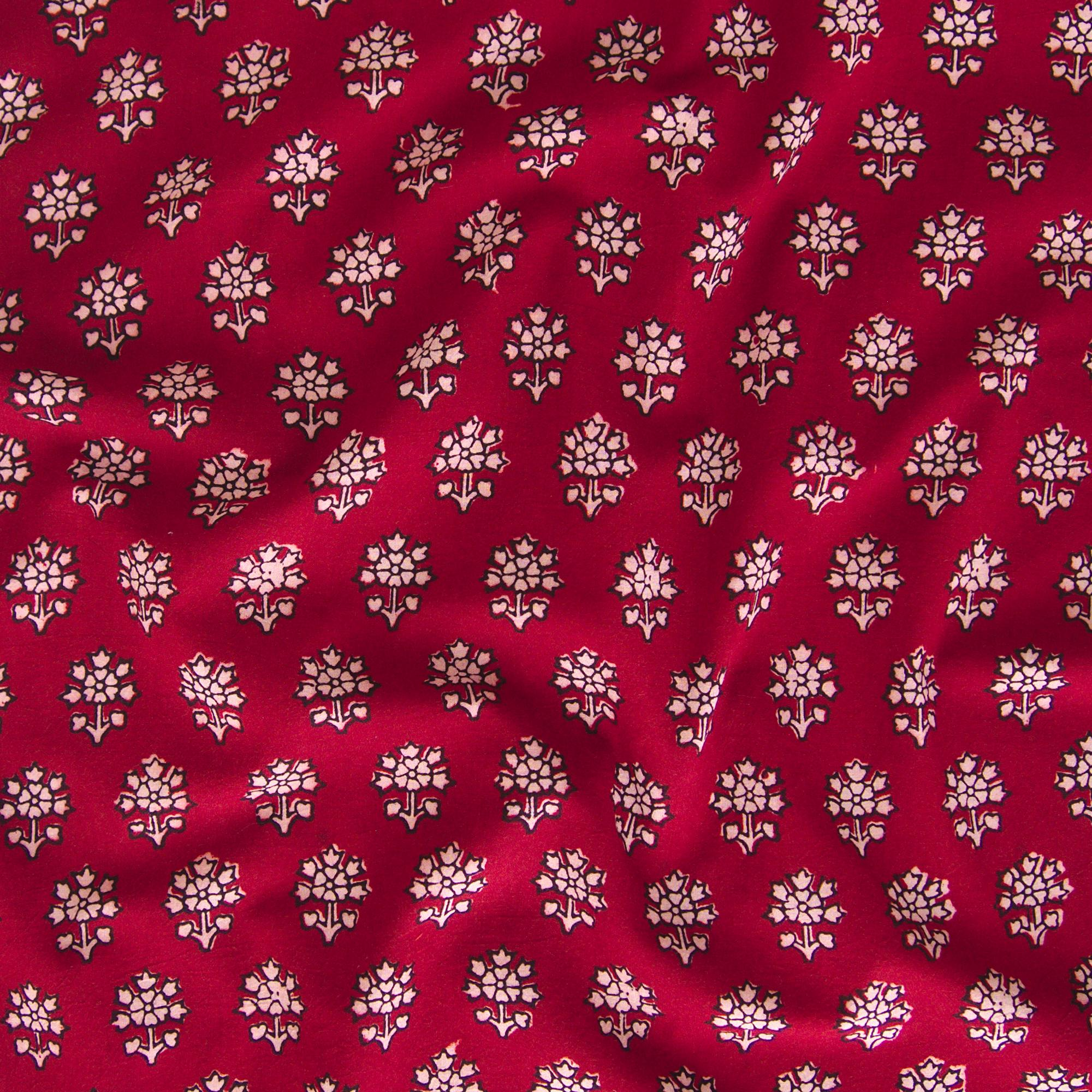 100% Block-Printed Cotton Fabric From India - New Perspective Design - Iron Rust Black & Alizarin Red Dyes - Contrast - Live