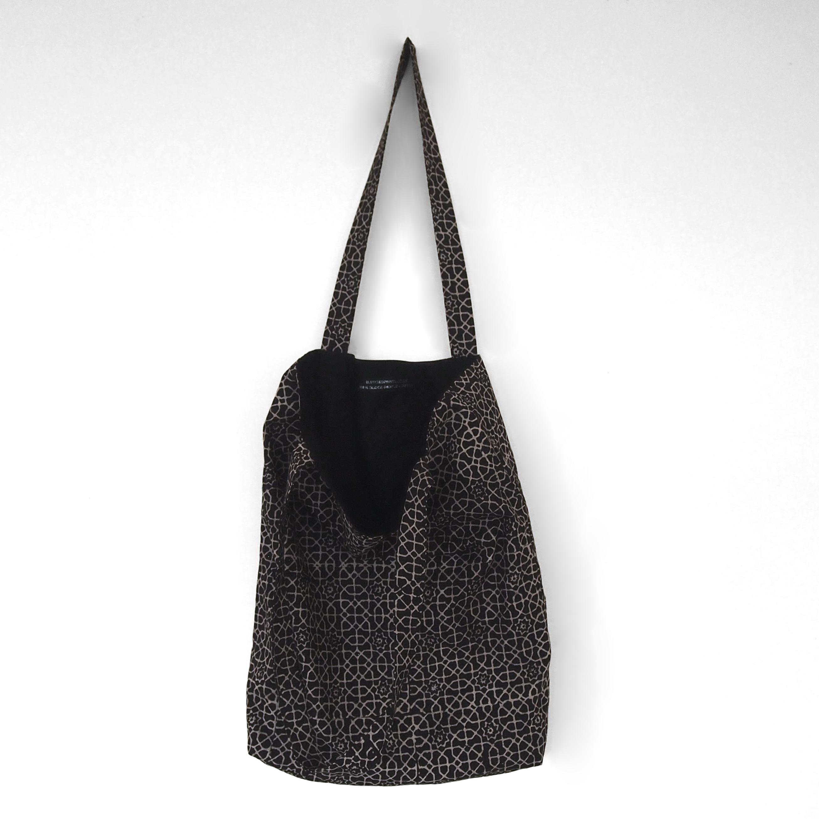 block printed cotton tote bag, natural dye, black, beige octagon design, lined with black cotton, open