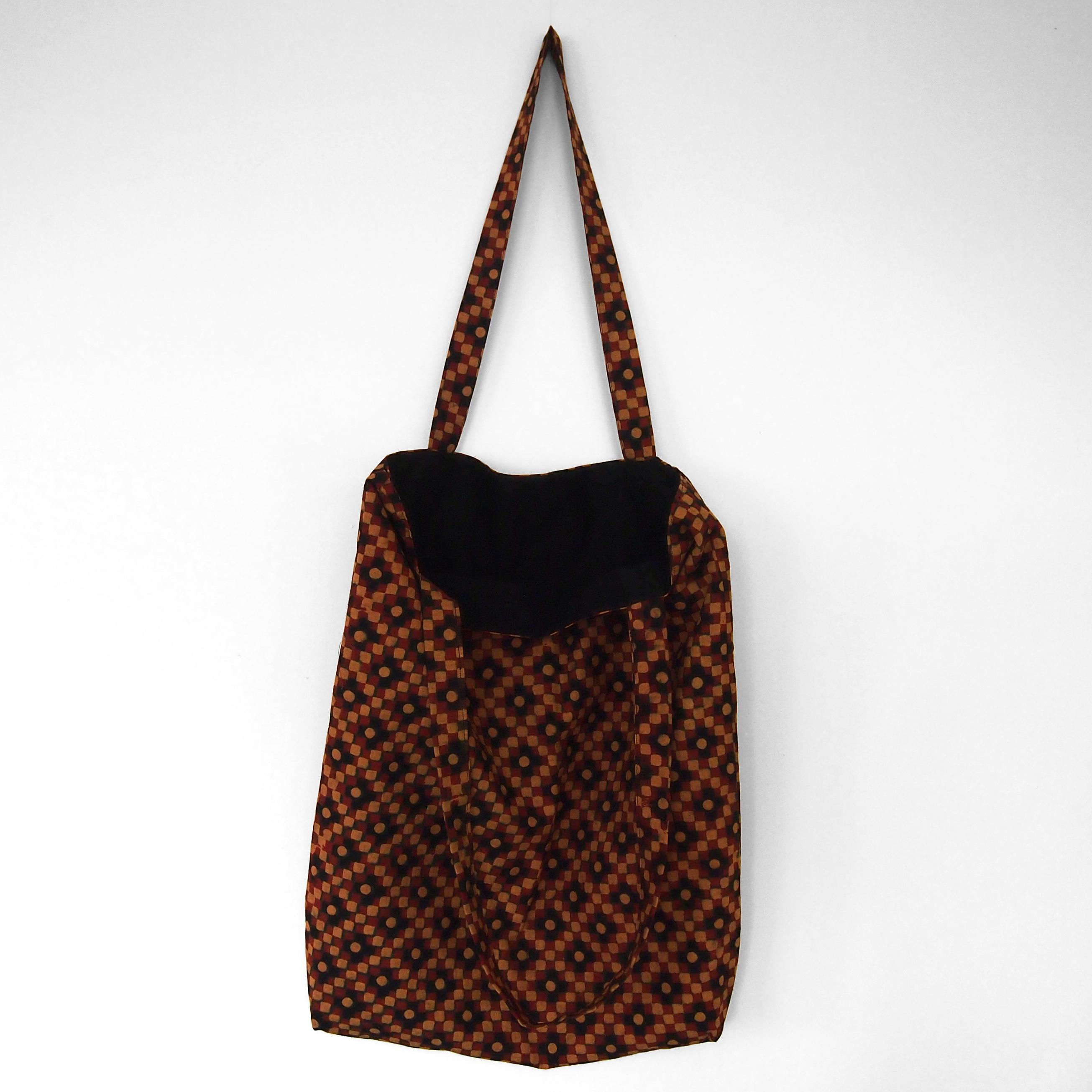 block printed tote bag, black, orange yellow green square design, lined with black cotton, open