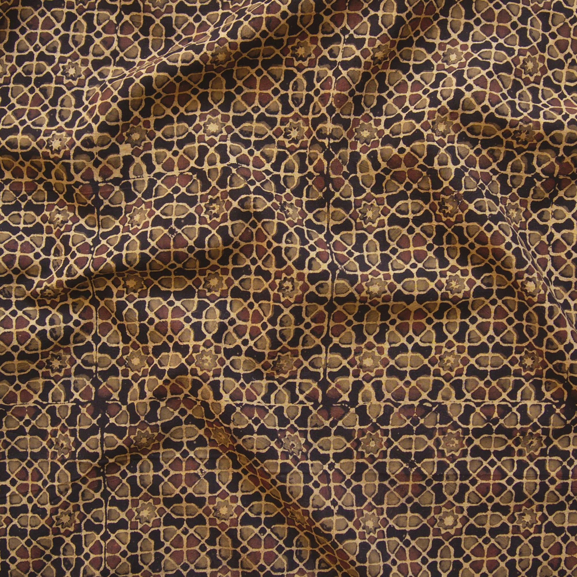 Block Printed Fabric, 100% Cotton, Ajrak Design: Iron Black Base, Green, Coffee Brown Octagon. Contrast