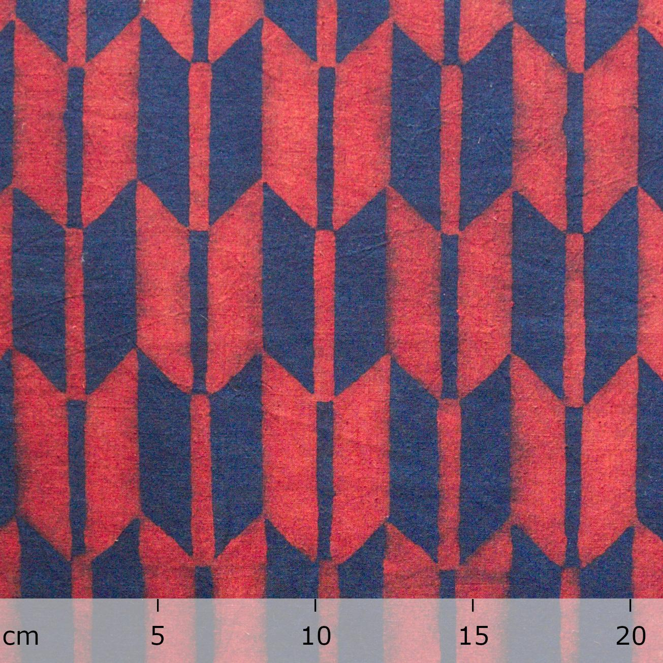 100% Block-Printed Cotton Fabric From India- Ajrak - Indigo Alizarin Fletching Print - Ruler