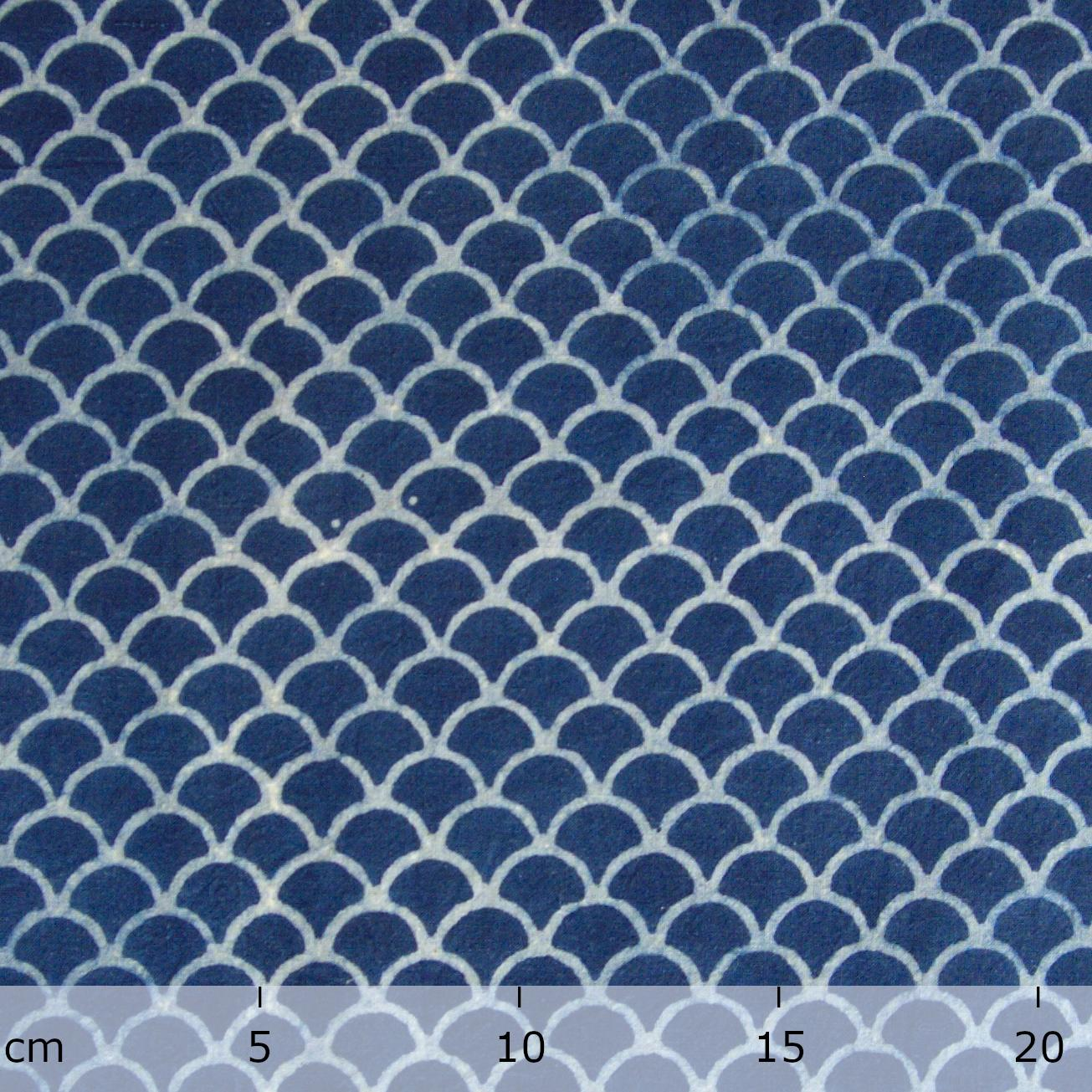 100% Block-Printed Cotton Fabric From India- Ajrak - Indigo White Resist Scales Print - Ruler