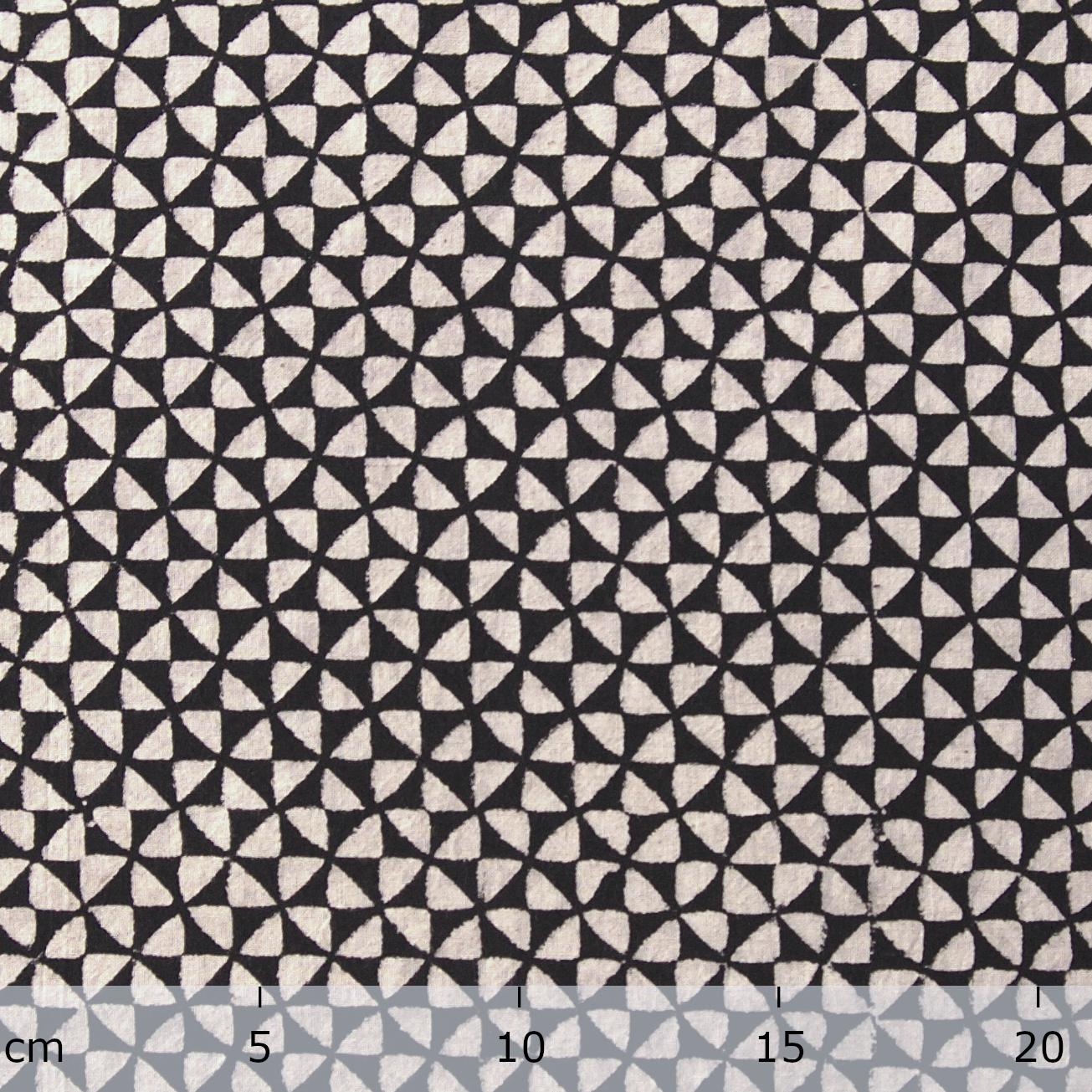 3 - IBR26 - 100% Block-Printed Cotton Fabric From India- Ajrak - Black White Resist Hourglass Print - Ruler