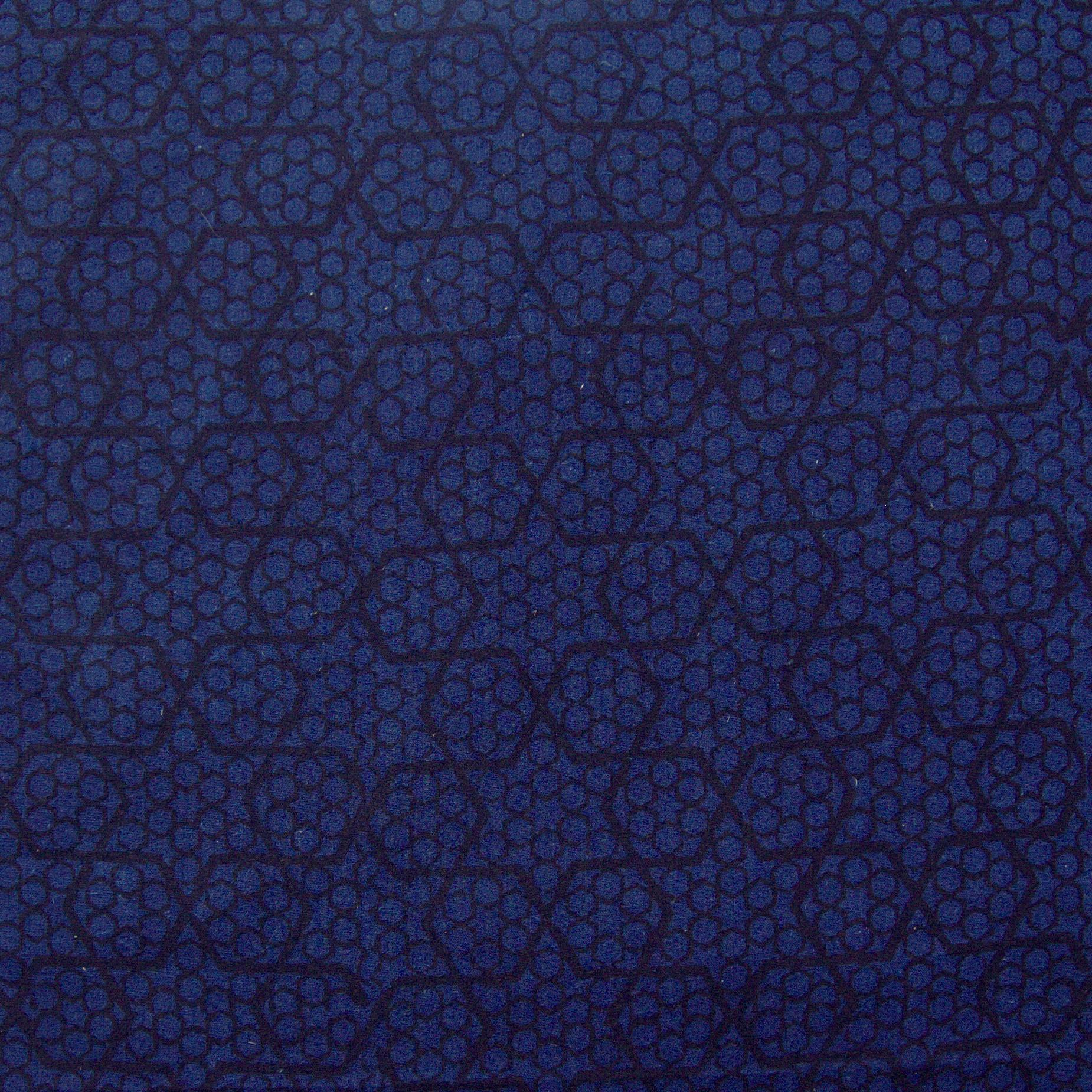 100% Block-Printed Cotton Fabric from India - Ajrak - Indigo Black Honey Comb Print