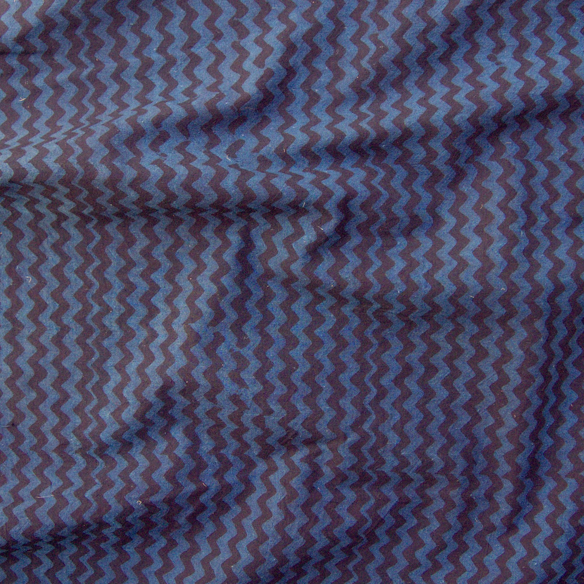 100% Block-Printed Cotton Fabric From India- Ajrak - Indigo Black Zig Zag Print - Contrast