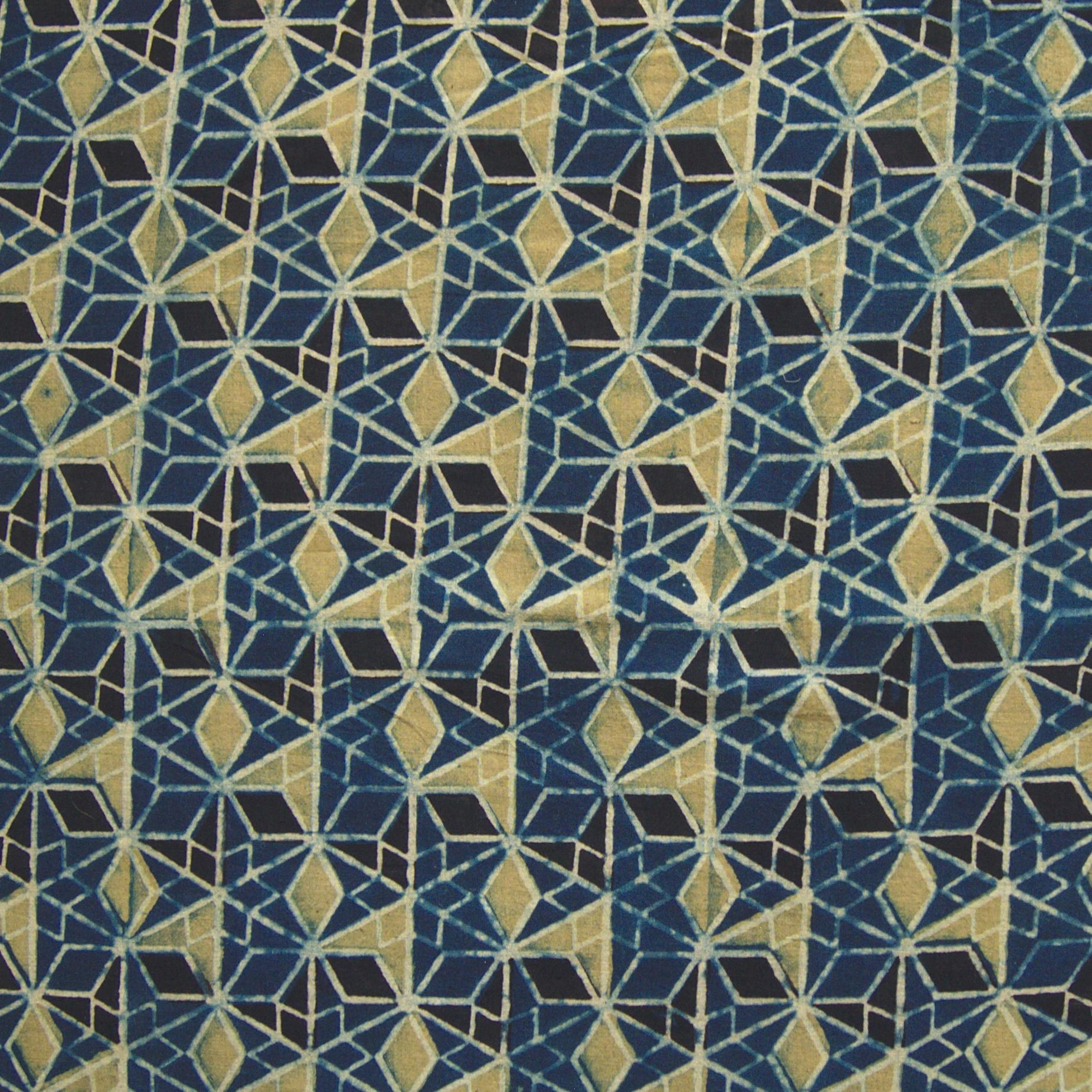 Block Printed Fabric, 100% Cotton, Ajrak Design: Blue Base, Black, Lime Wing. Close Up