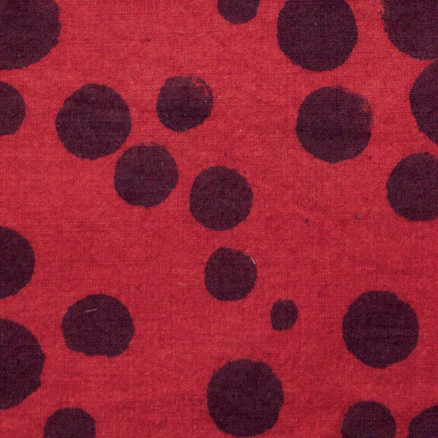 100% Block-Printed Cotton Fabric From India- Ajrak - Alizarin Black Dots Print - Close Up
