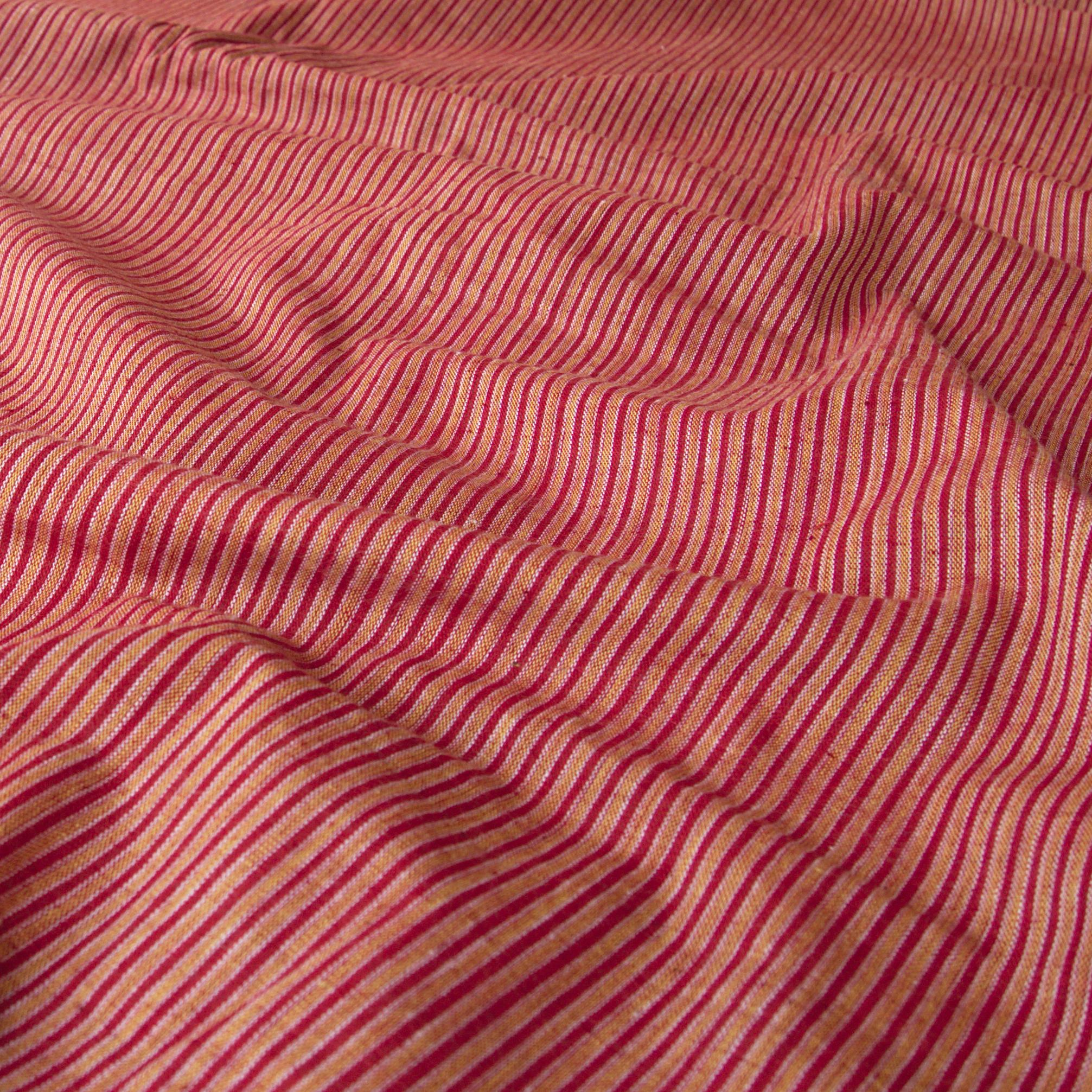 100% Handloom Woven Cotton - Double Stripes - Alizarin Red Warp & Weft, White and Pomegranate Yellow Warp - Contrast