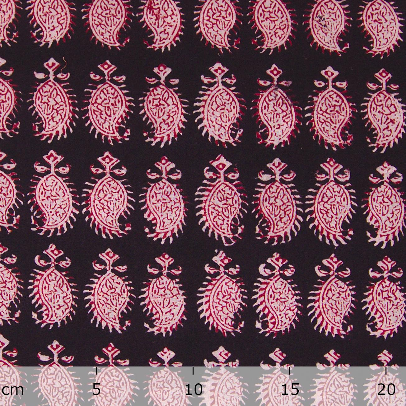 100% Block -Printed Cotton Fabric From India - Cactus Design - Iron Rust Black & Alizarin Red Dyes - Ruler - Live