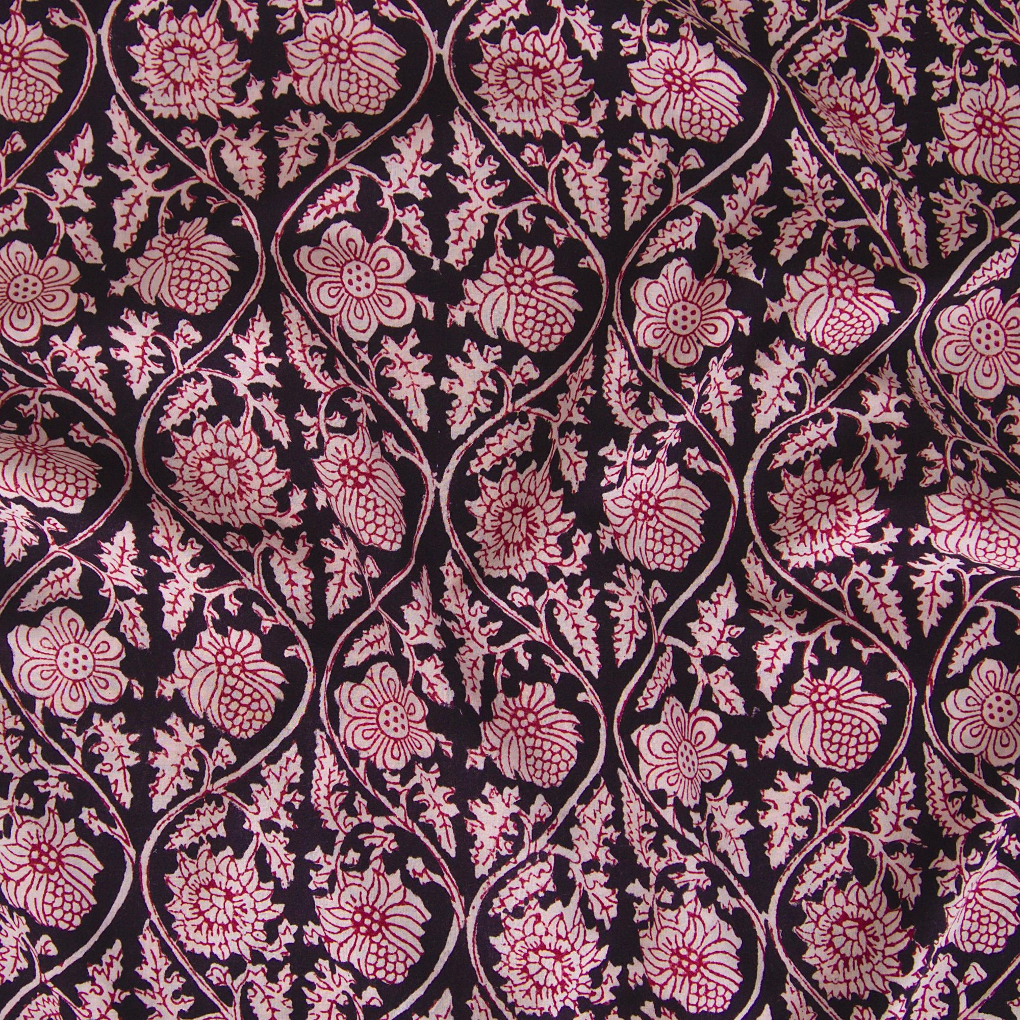 100% Block-Printed Cotton Fabric From India - Vinea Design - Iron Rust Black & Alizarin Red Dyes - Contrast - Live