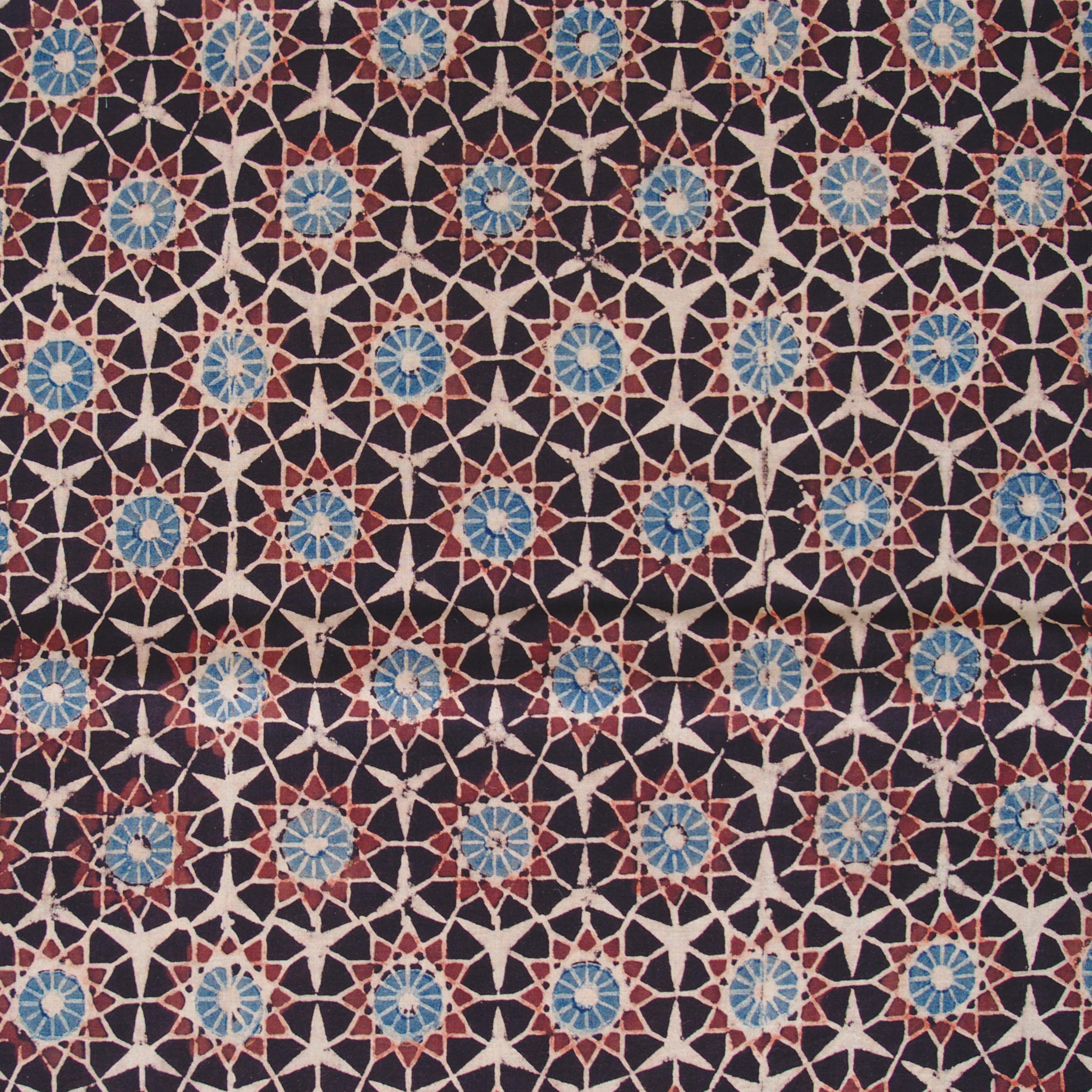 Block Printed Fabric, 100% Cotton, Ajrak Design: Black Base, Madder Root Red, Blue, Cream Burst. Close Up