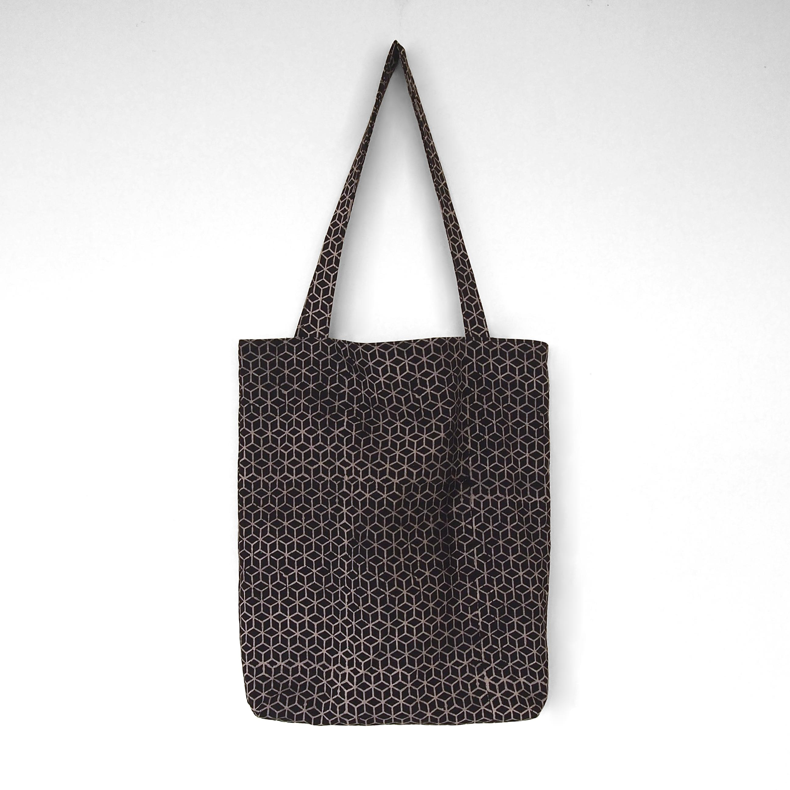 block printed cotton tote bag, natural dye, black, beige tumbling block design, lined with black cotton, closed