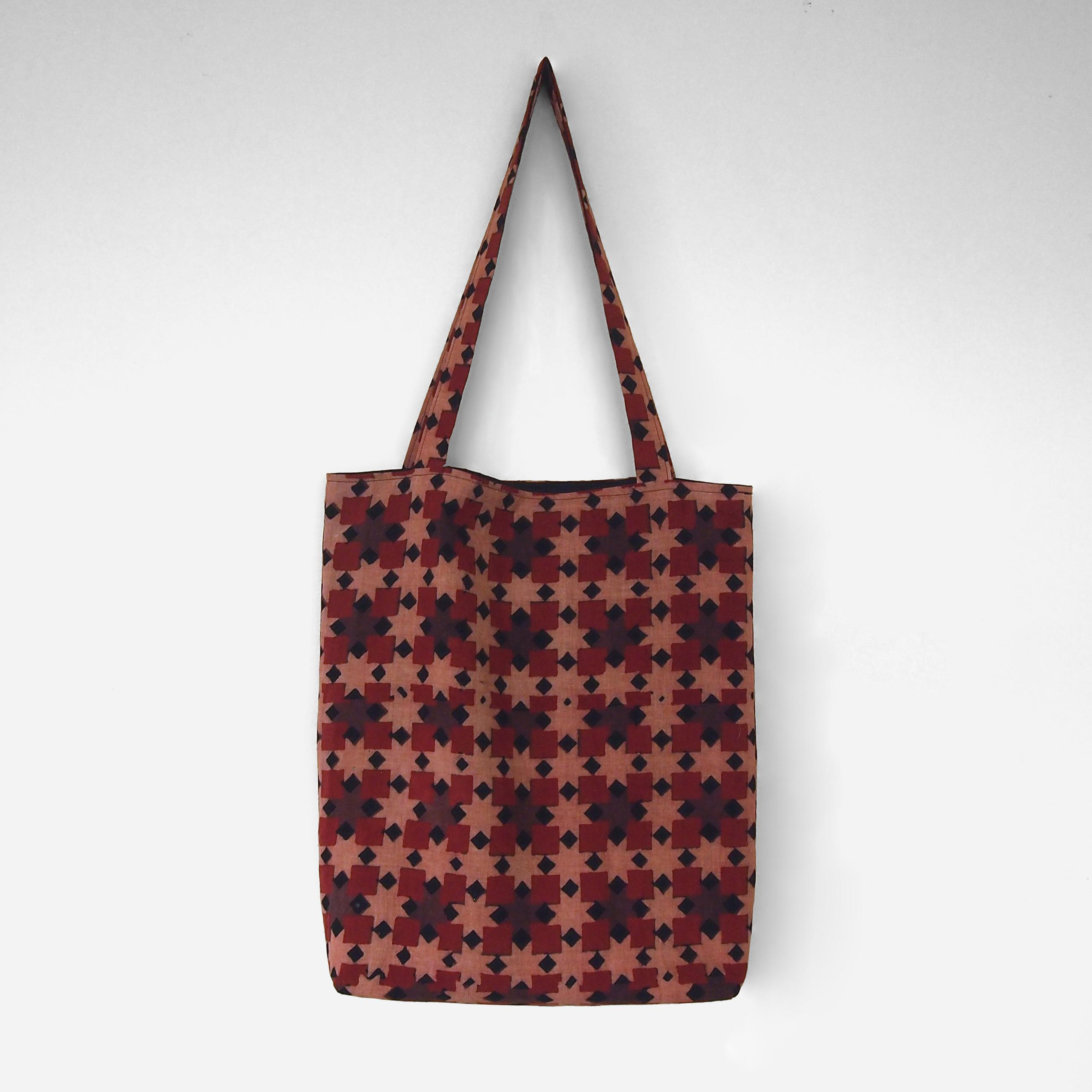 block printed cotton tote bag, pink, red ochre black square design, natural dye, lined with black cotton, closed