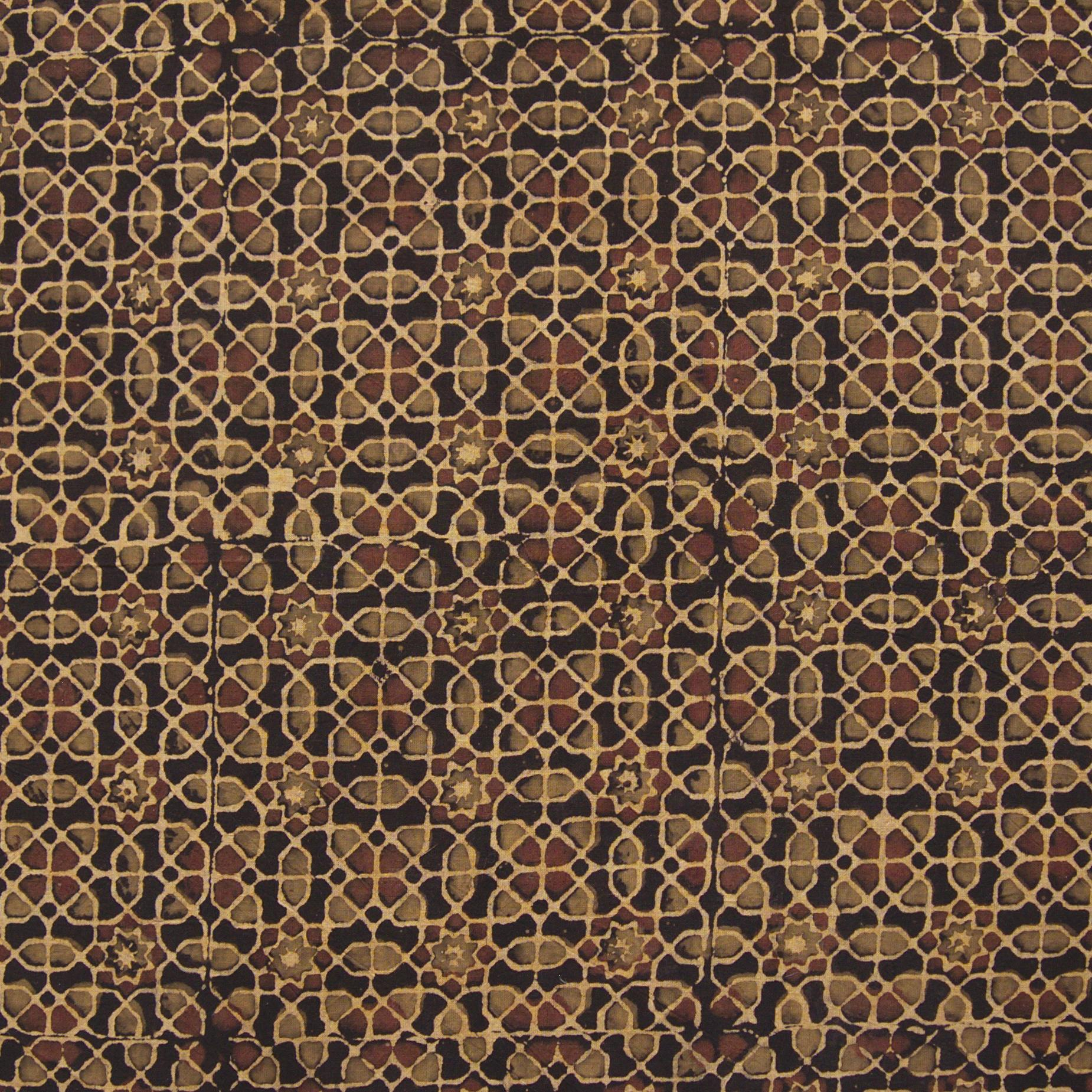 Block Printed Fabric, 100% Cotton, Ajrak Design: Iron Black Base, Green, Coffee Brown Octagon. Close Up