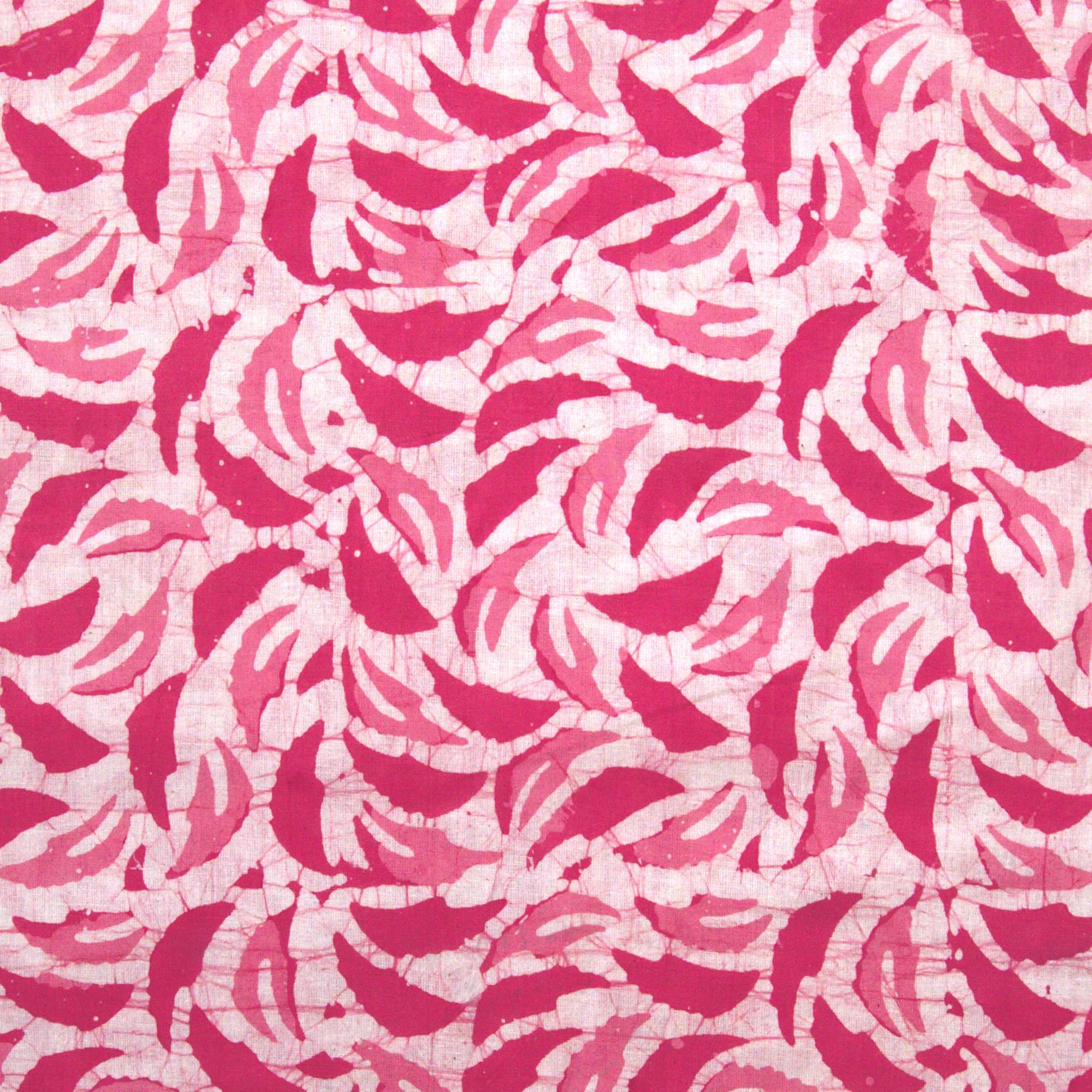 2 - SHA10 - 100% Block-Printed Batik Cotton Fabric From India - Batik - Pink Red Neem Leaves
