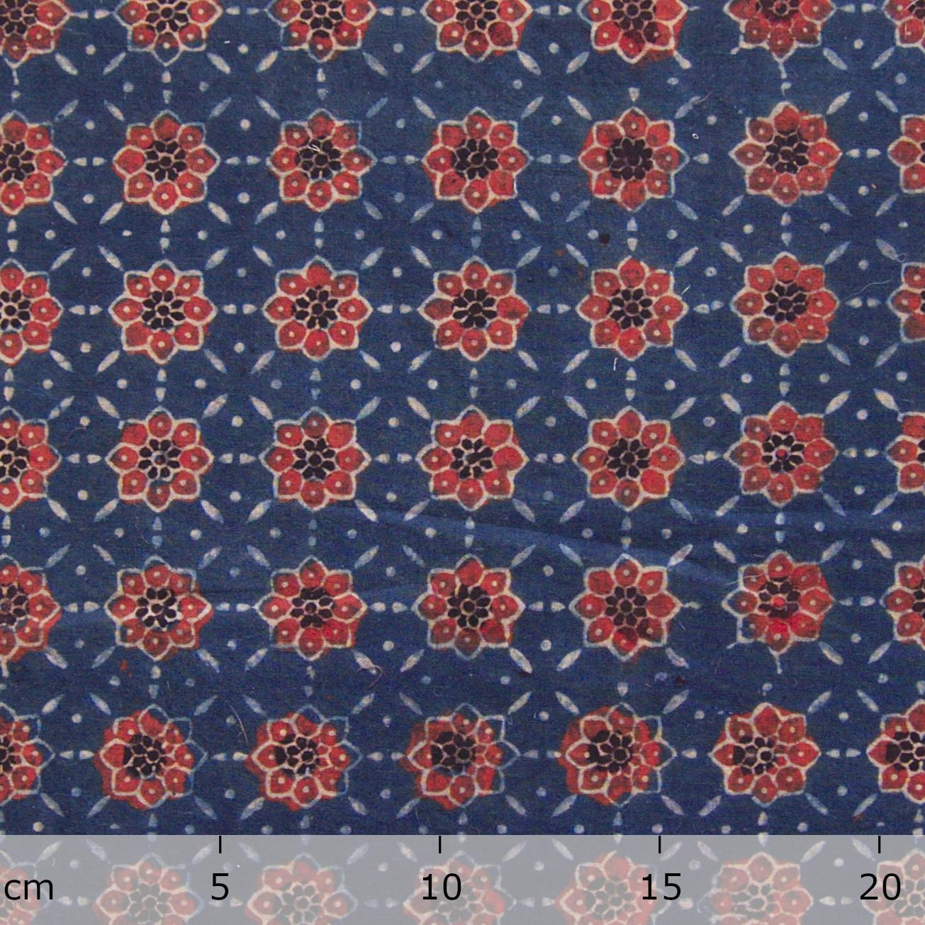 Block Printed Fabric, Cotton, Ajrak Design: Indigo Blue Base, Madder Red Flower. Ruler