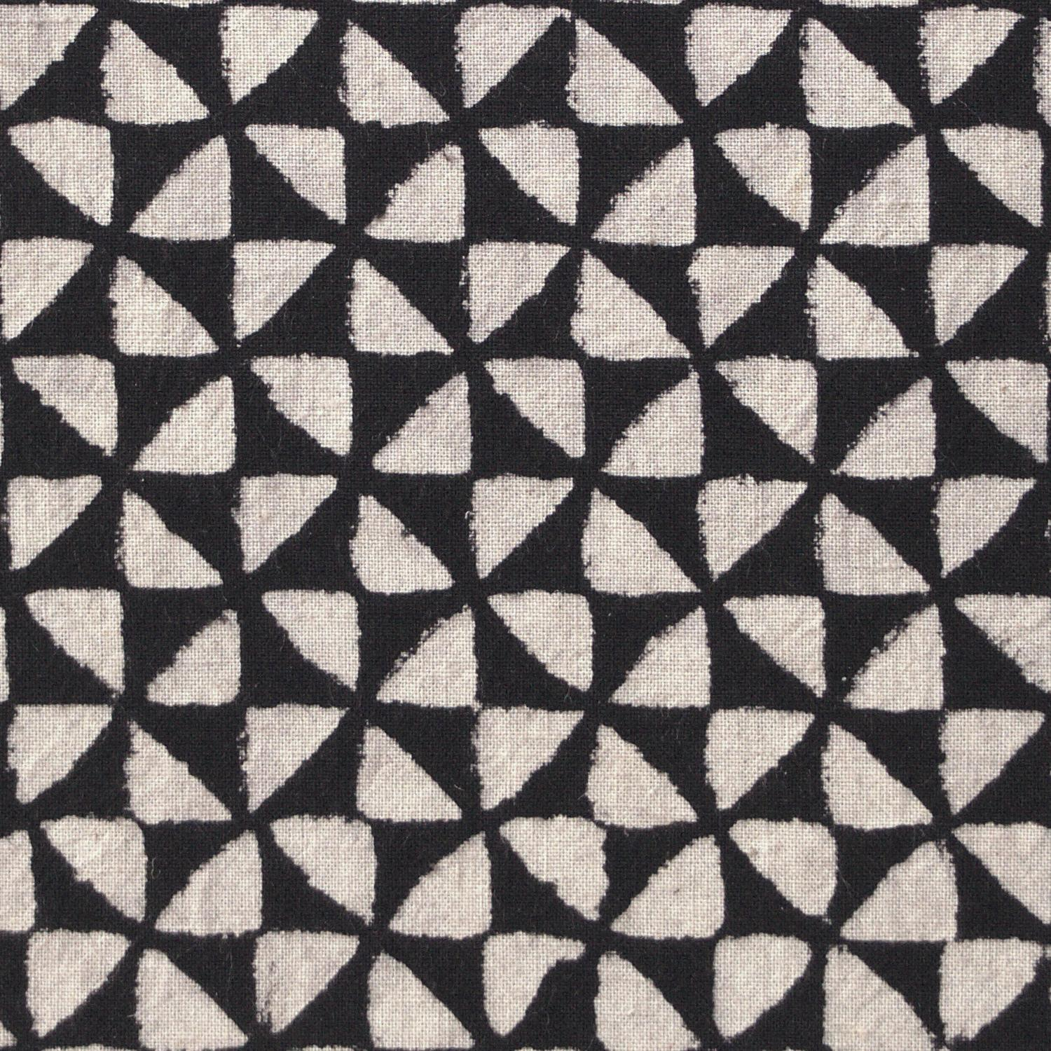 4 - IBR26 - 100% Block-Printed Cotton Fabric From India- Ajrak - Black White Resist Hourglass Print - Close Up