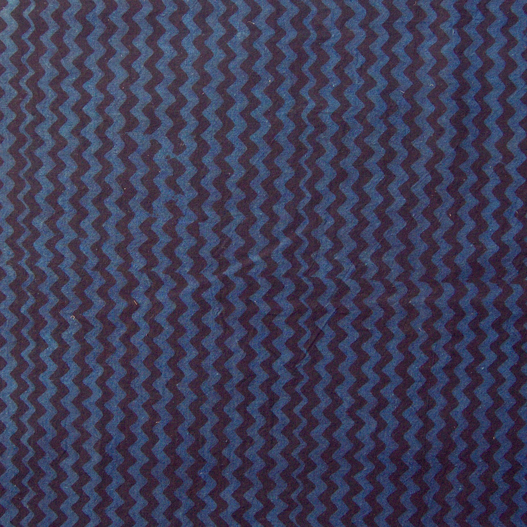 100% Block-Printed Cotton Fabric From India- Ajrak - Indigo Black Zig Zag Print - Flat