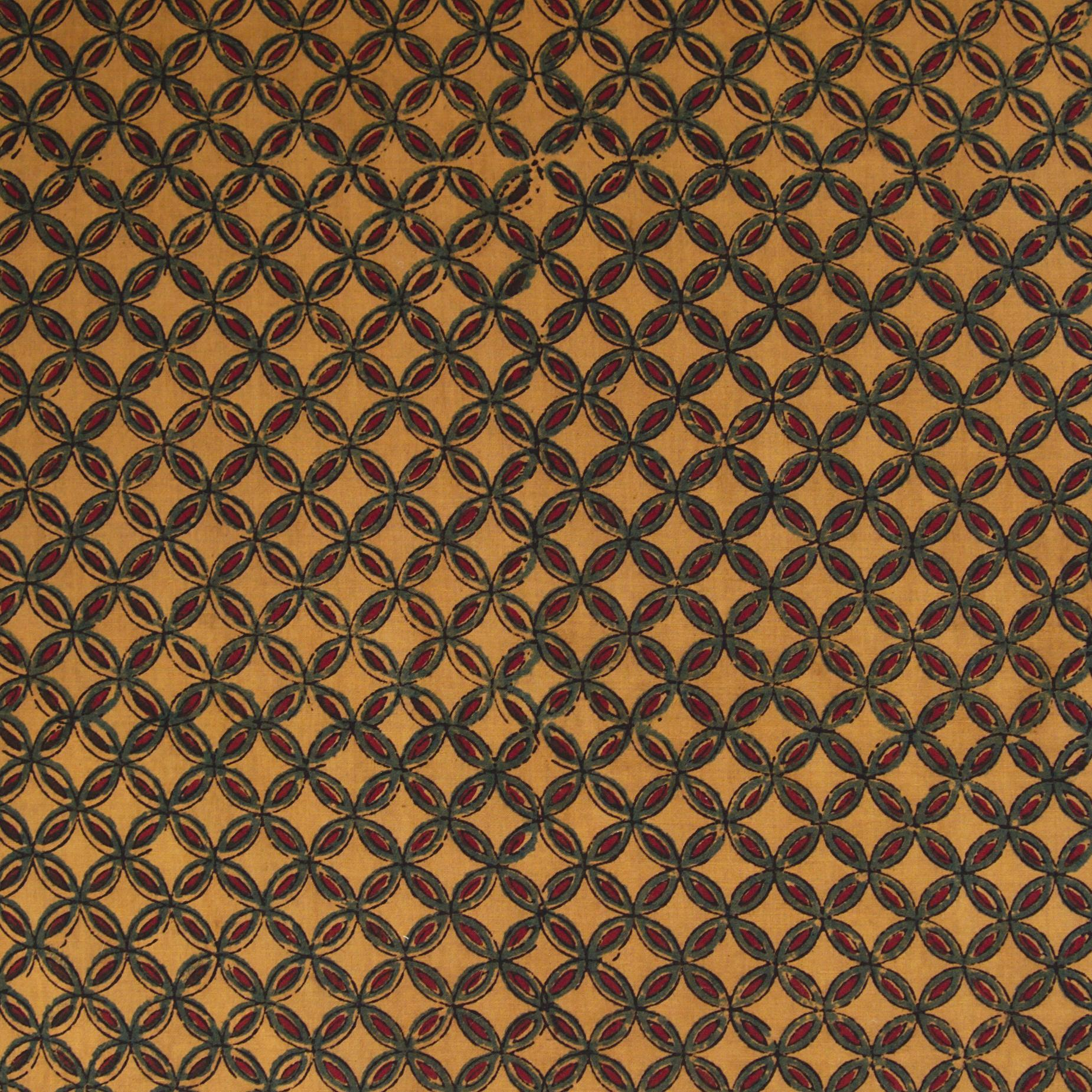 Block Printed Fabric, 100% Cotton, Ajrak Design: Yellow Base, Green Overlapping Circles, Red. Close Up