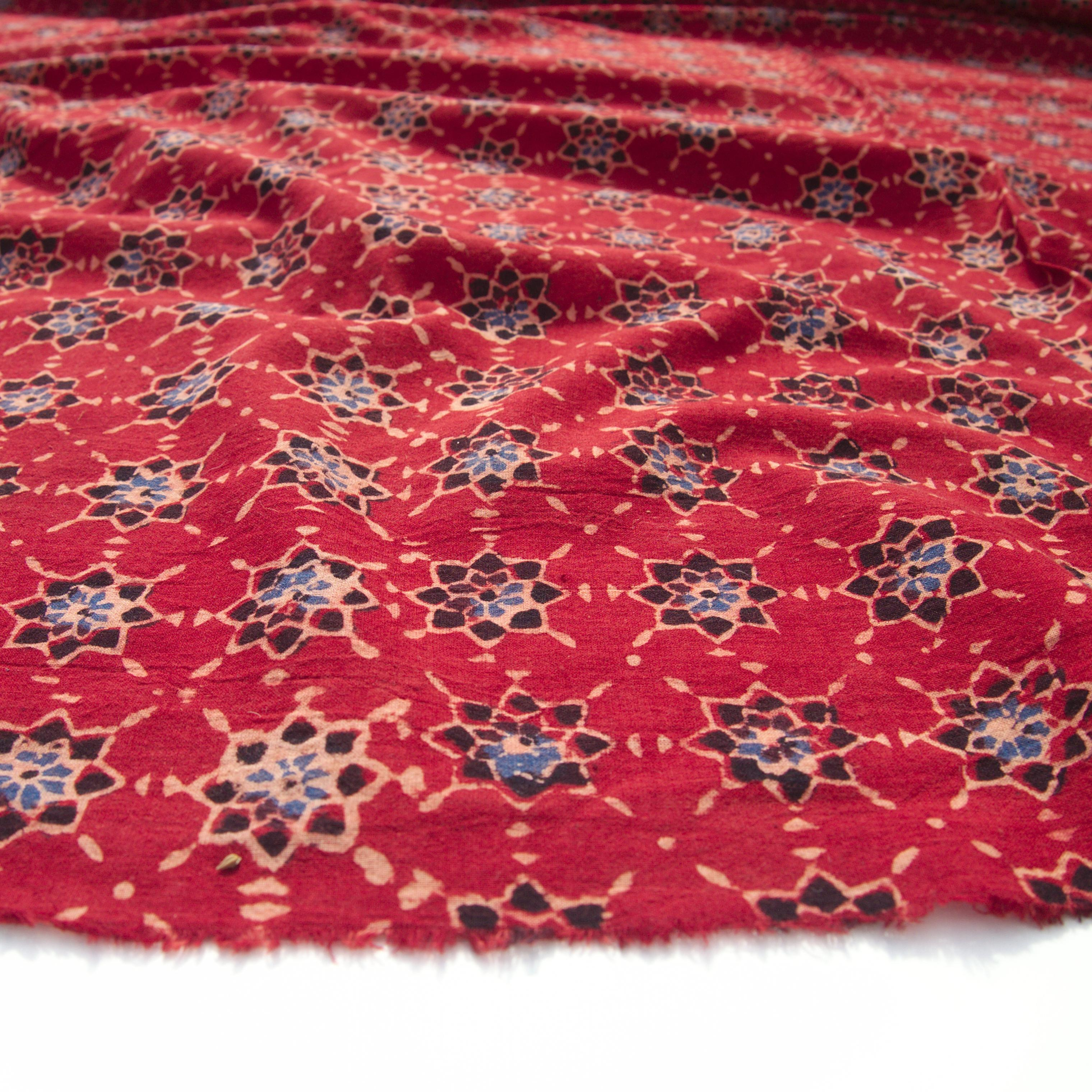 Block Printed Fabric, 100% Cotton, Ajrak Design: Red Base, Blue, Black Starburst. Angle
