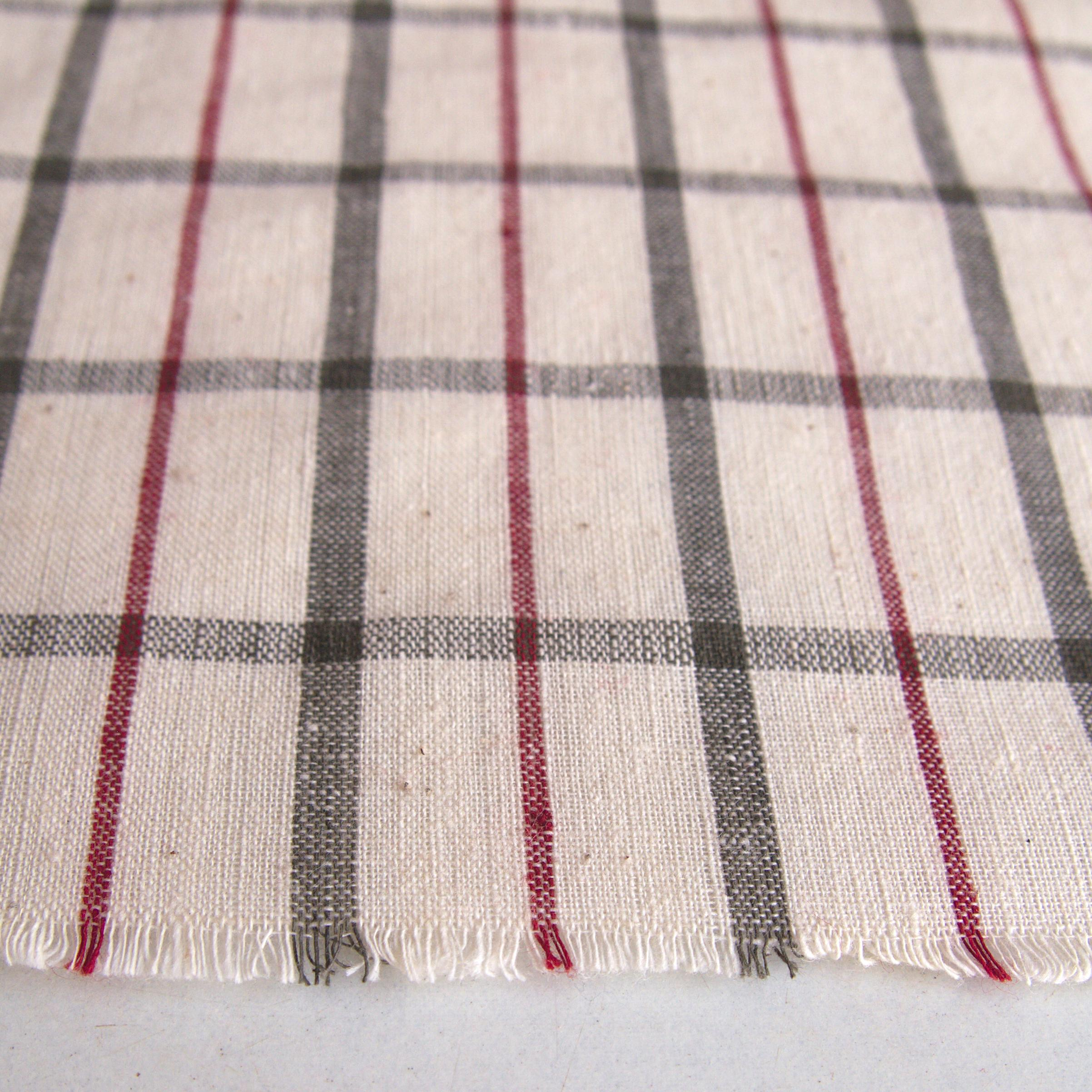 100% Handloom Woven Cotton - White Warp & Weft, Olive Green Warp & Weft, Alizarin Red Warp - Chequers - Close Up