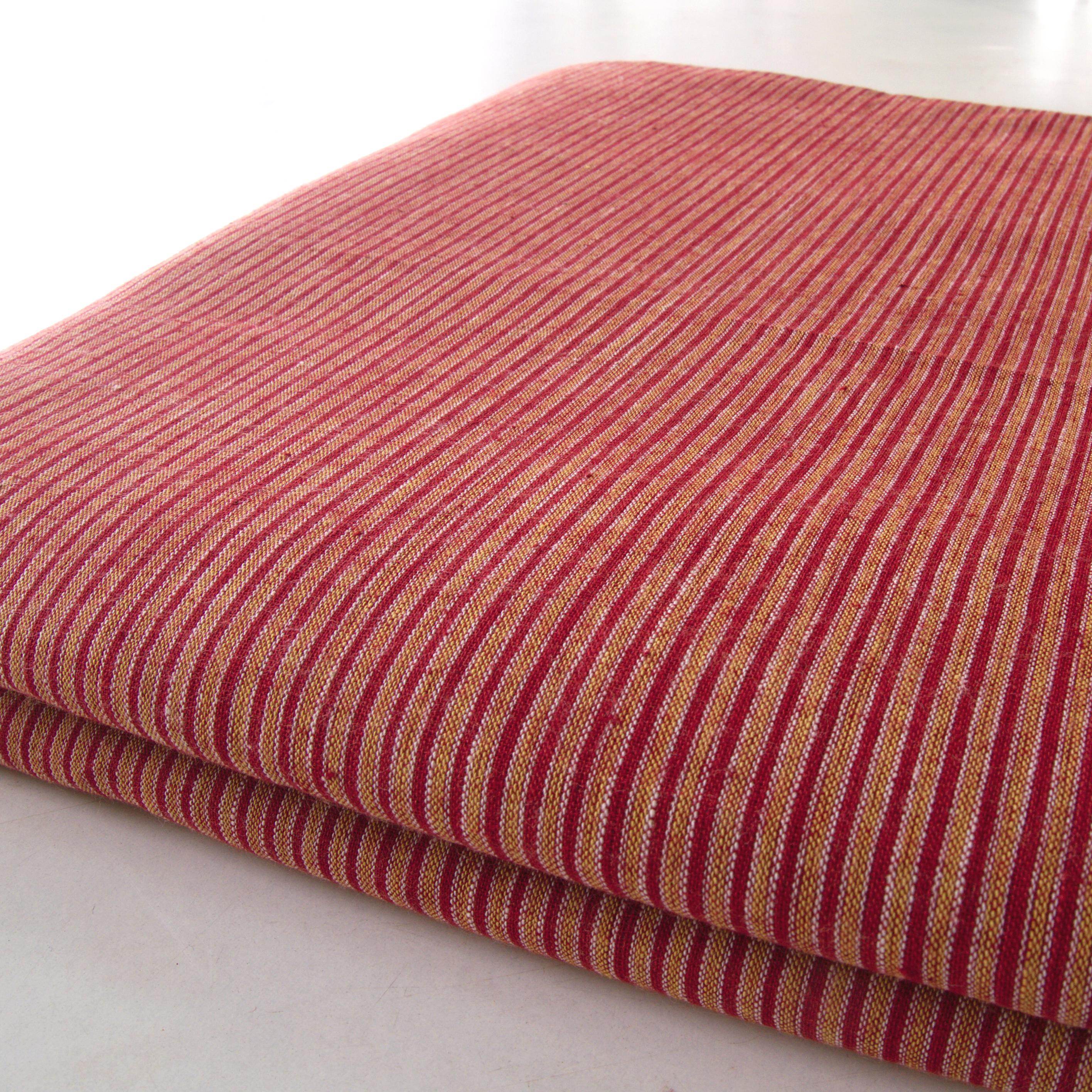 100% Handloom Woven Cotton - Double Stripes - Alizarin Red Warp & Weft, White and Pomegranate Yellow Warp - Bolt