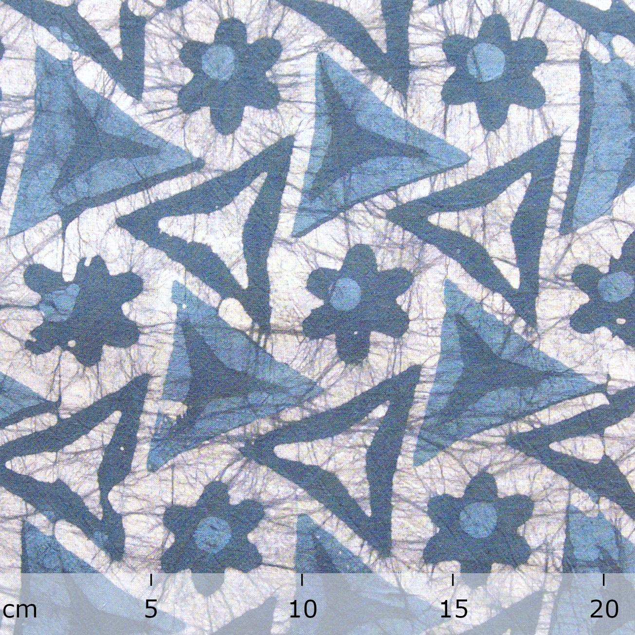 4 - SHA22 - 100% Block-Printed Batik Cotton Fabric From India - Tri Blade Motif - Ruler - Live